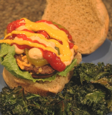 Veggie Burgers with Kale Chips