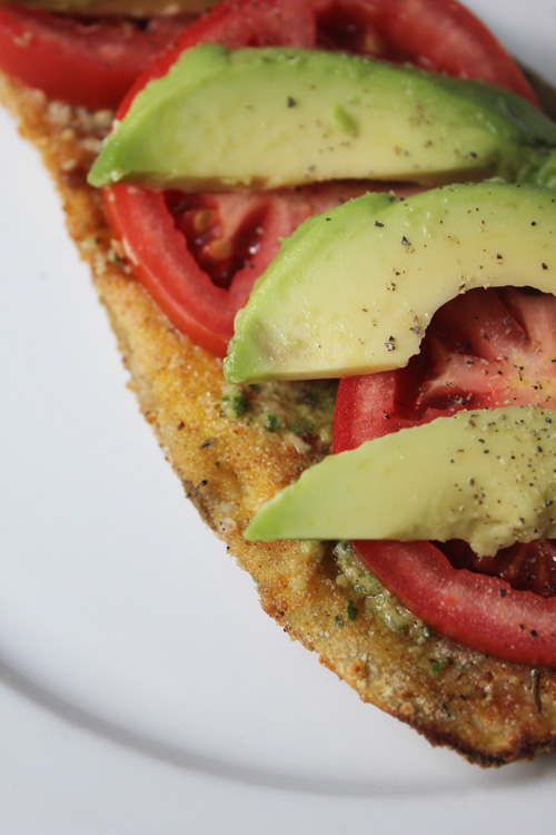 Eggplant Topped with Pesto, Tomato, and  Avocado