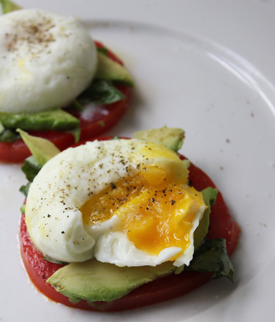 Poached Eggs with Heirloom Tomatoes, Avocado &amp; Basil