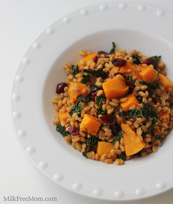Farro with Roasted Butternut Squash, Kale & Cranberries – Milk Free ...