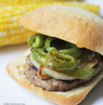 Sausage Pepper Onion Burger