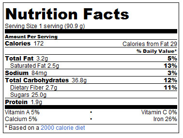 Vegan Chocolate Pudding Nutrition-Info
