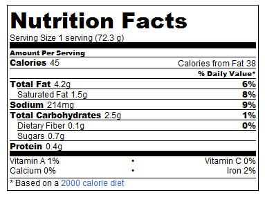 Dairy Free Gravy Nutrition