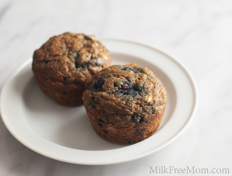 Dairy Free Whole Wheat Blueberry Muffins
