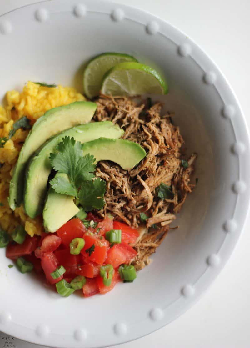 dairy-free chicken taco bowl
