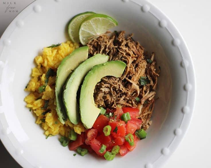 dairy-free chicken taco bowls