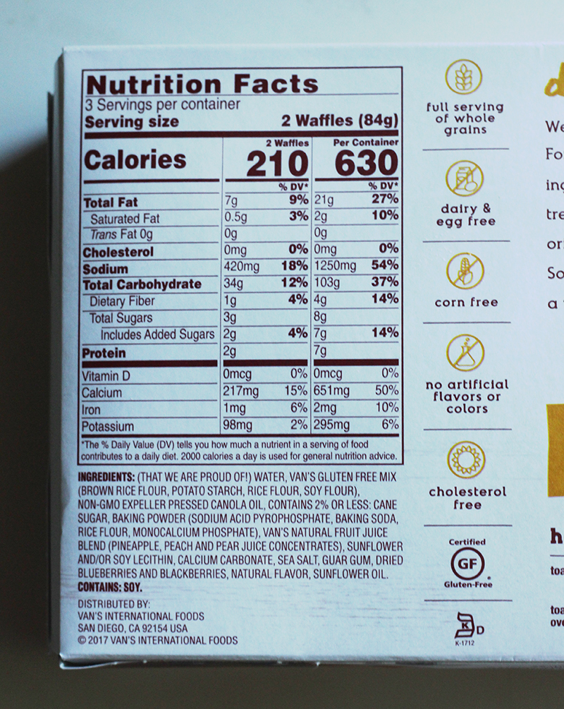 Vans waffle nutrition info