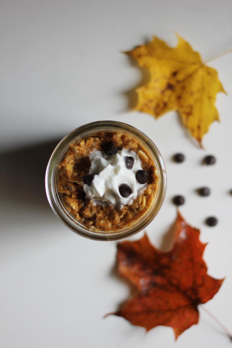 dairy free pumpkin pie overnight oats